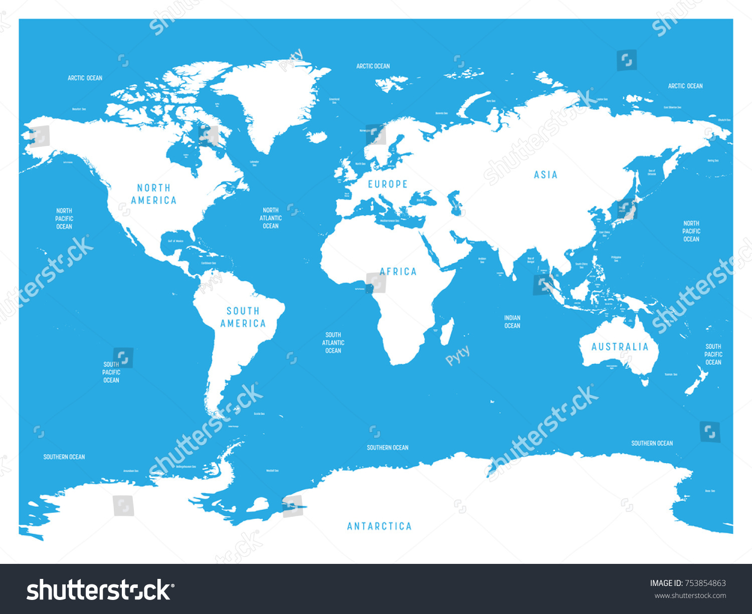 Oceanographical Map World Labels Oceans Seas Stock Vector (Royalty ...