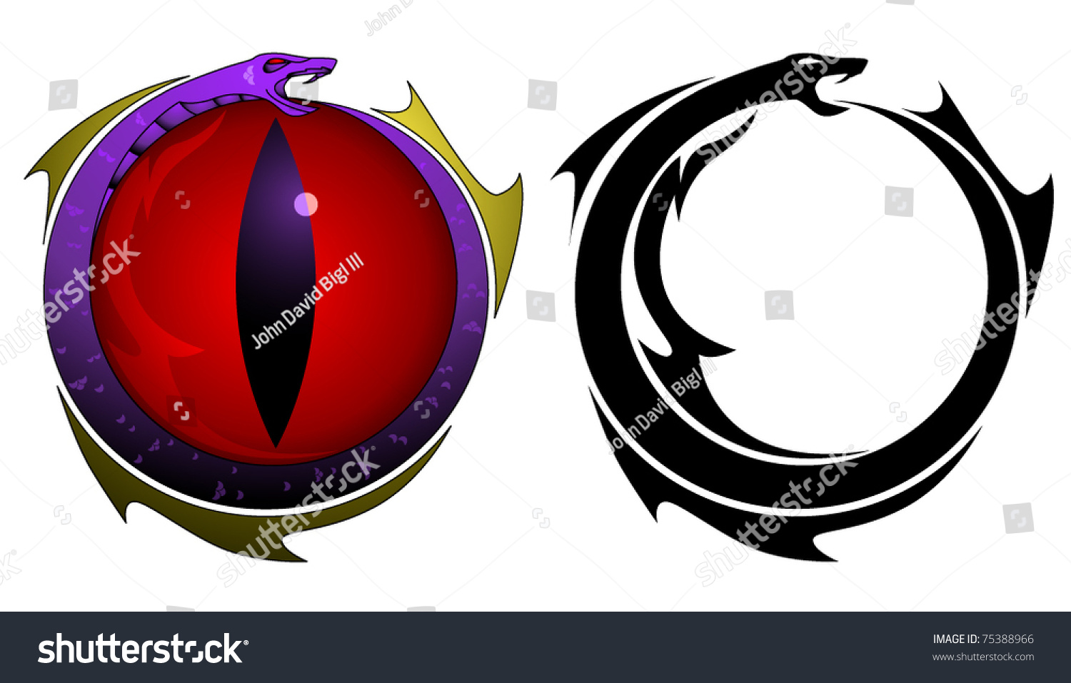 Two Tattoo Designs Snake Eating Tail Stock Vector Royalty Free
