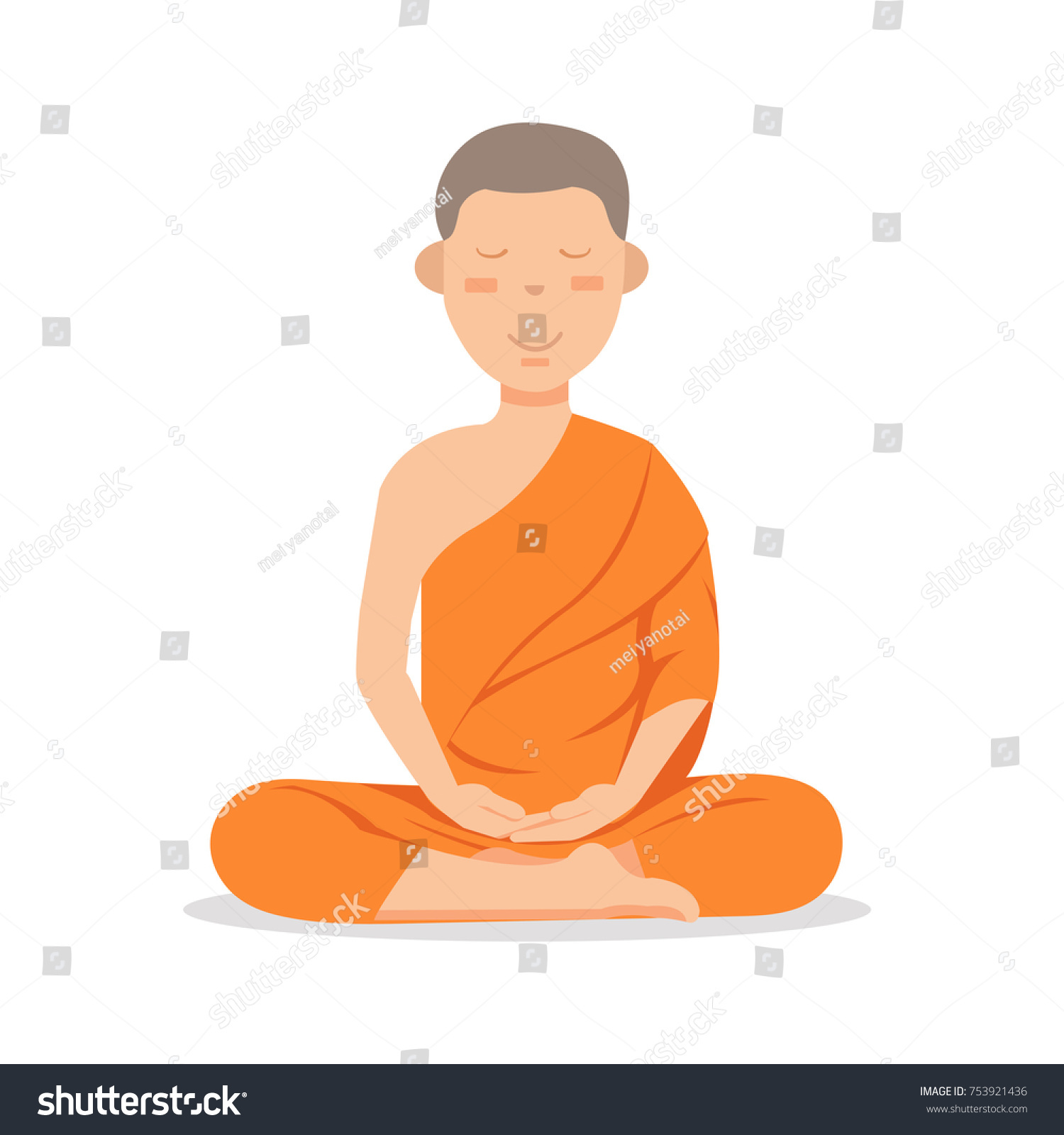 Buddhist Monk Orange Robes Sitting Meditation Stock Vector 753921436