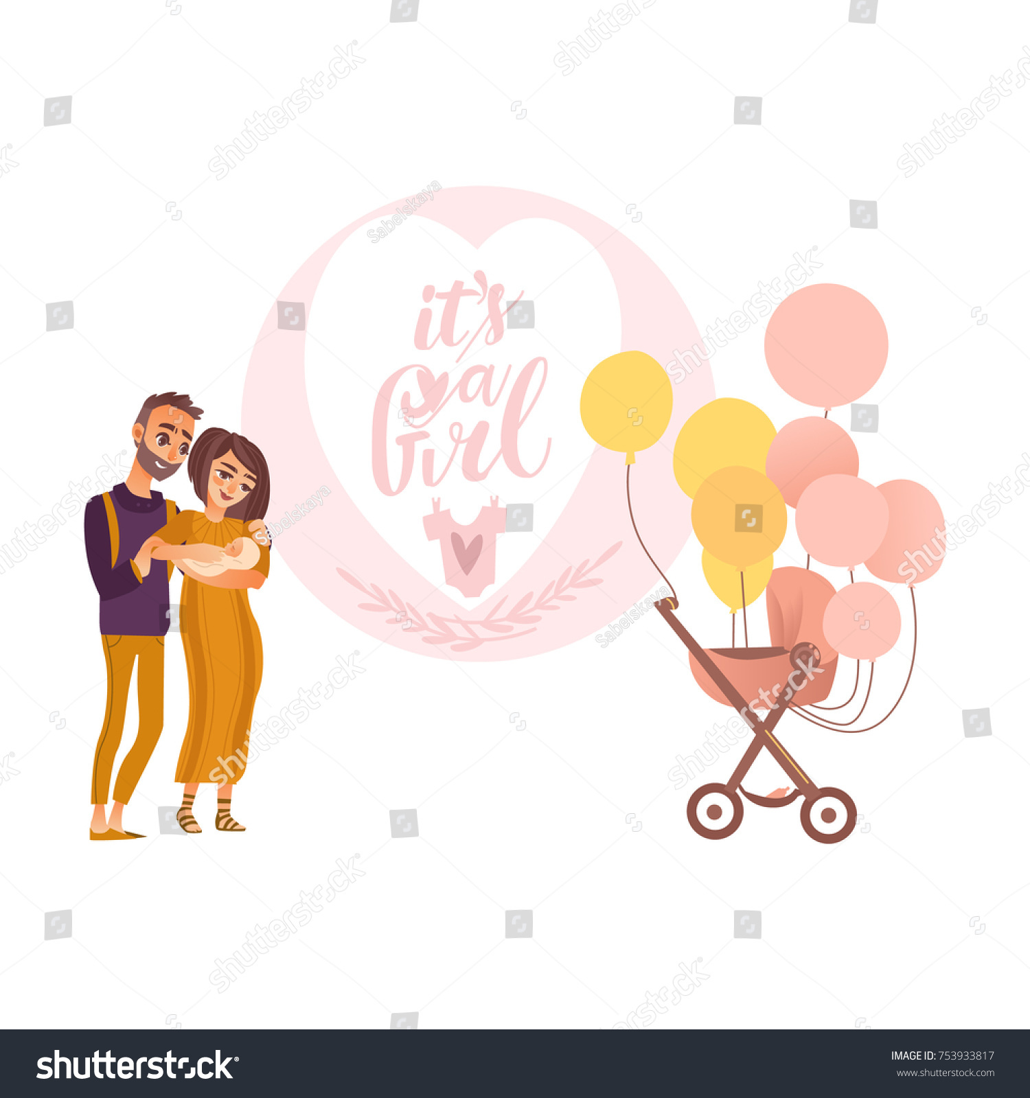 Girl Greeting Card Design Parents Holding Stock Vector Royalty Free