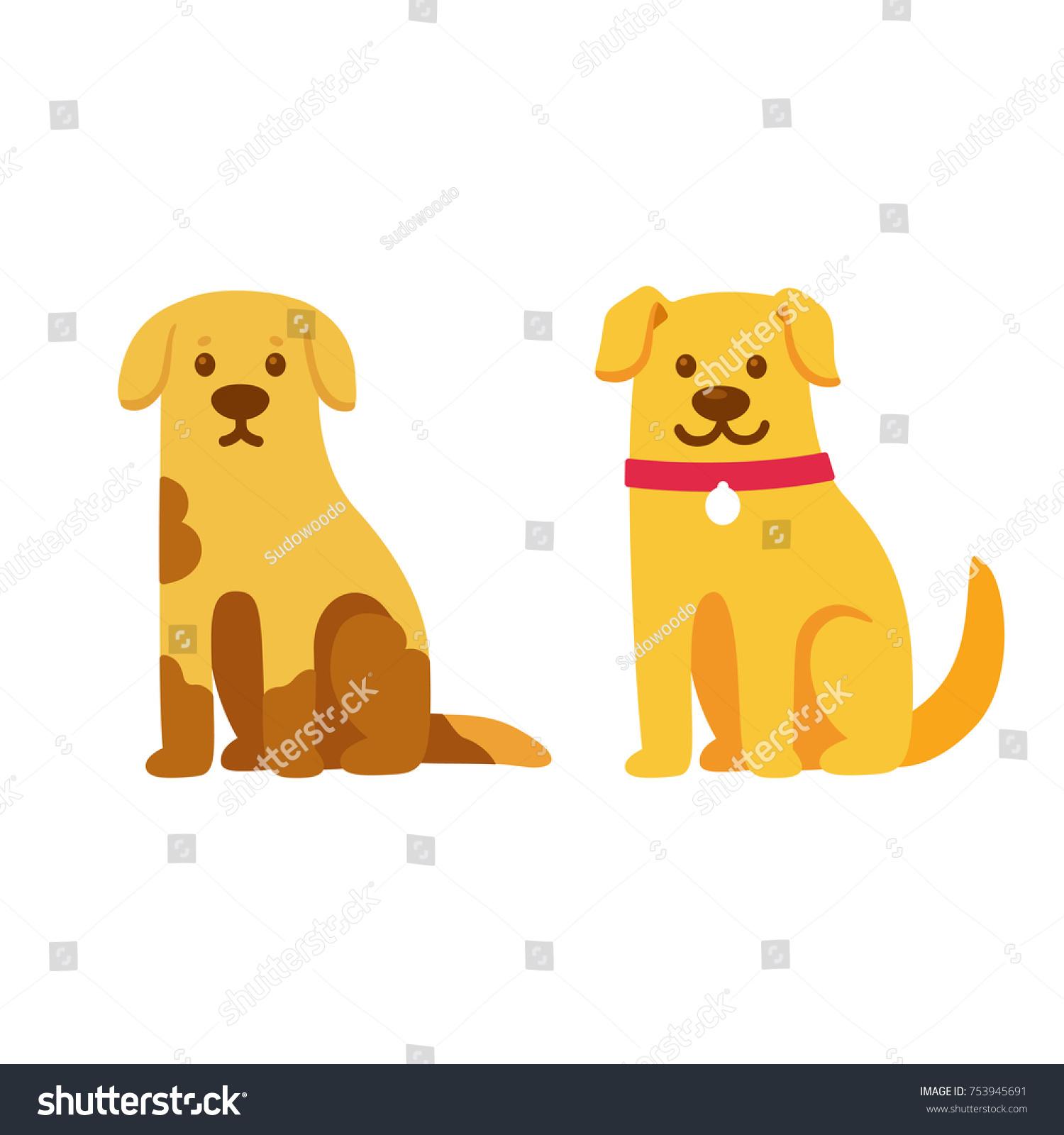 Skinny Dirty Stray Dog Happy Healthy Stock Vector