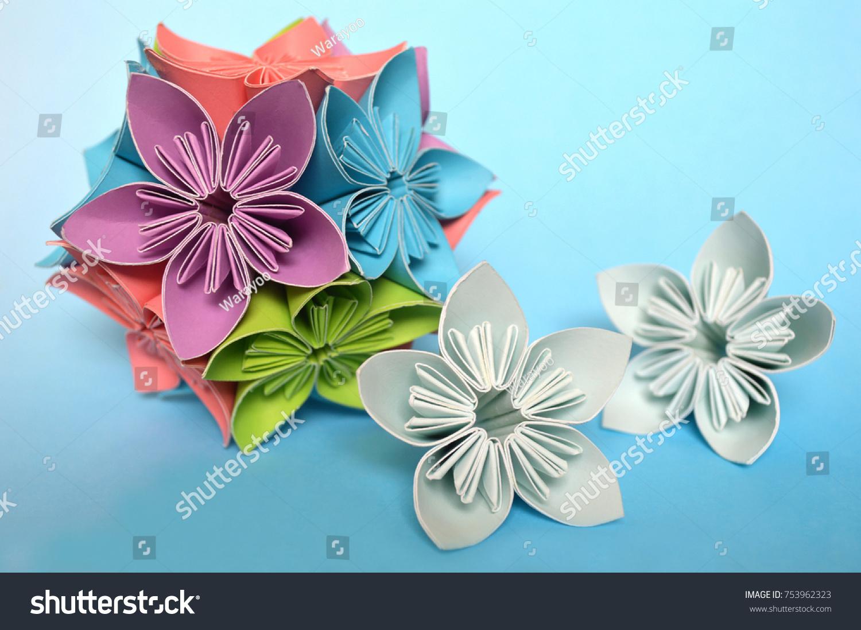 Origami Kusudama Flower On Blue Background Stock Photo Royalty Free