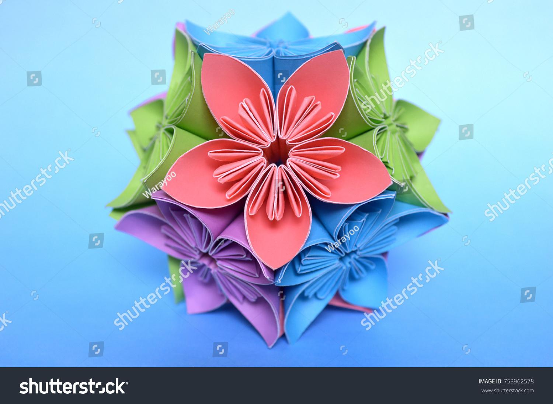 Origami Kusudama Flower Ball On Blue Stock Photo Edit Now