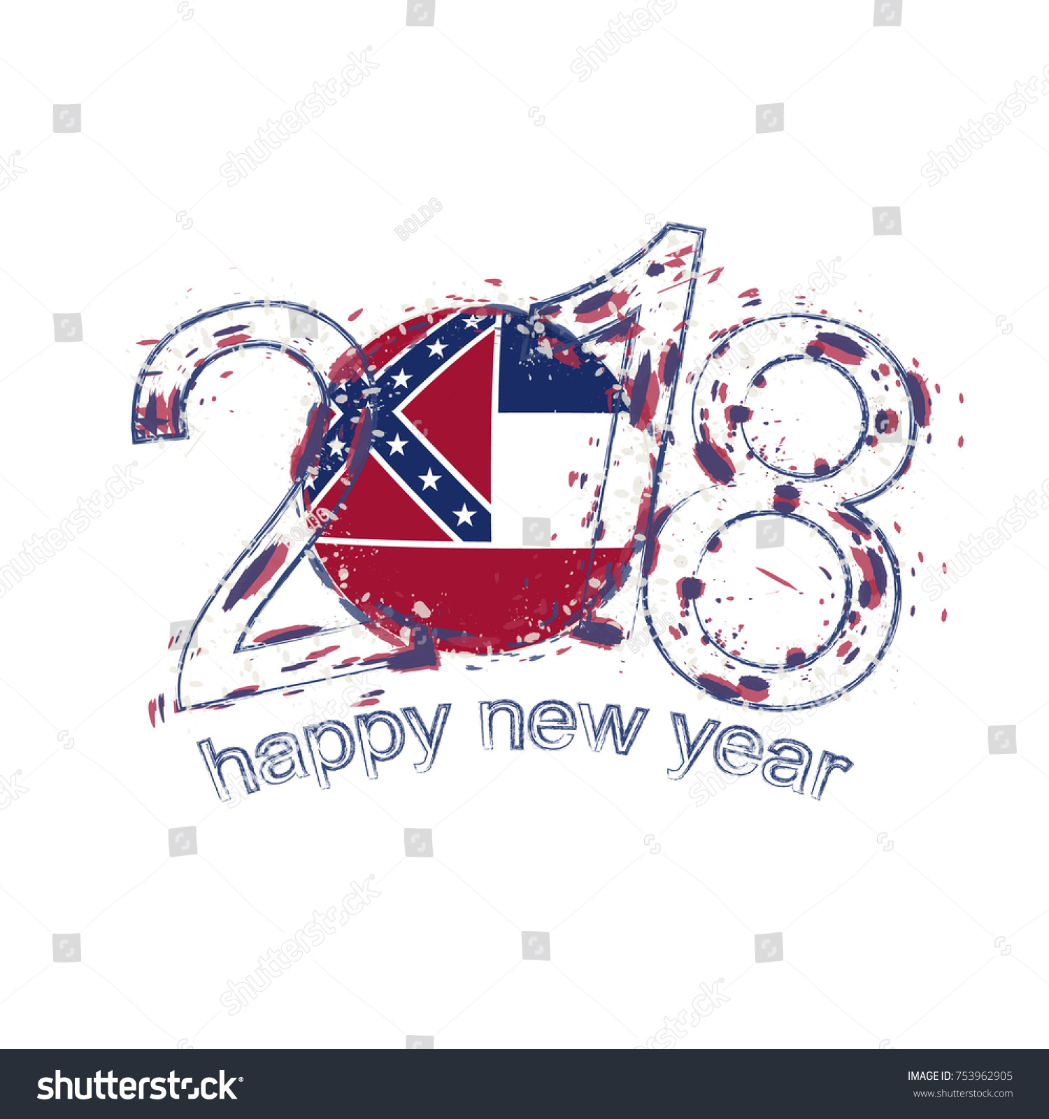 2018 Happy New Year Mississippi US Stock Vector (Royalty Free ...