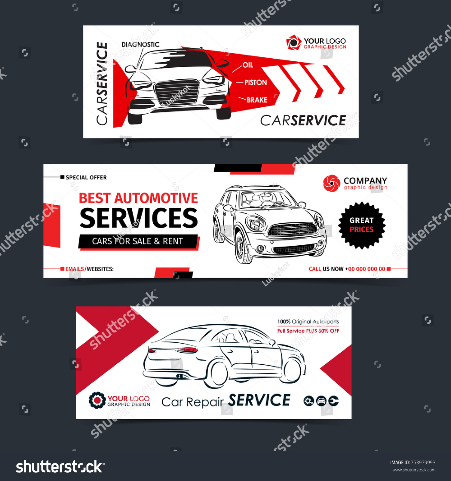 set auto repair service banner poster stock vector royalty free