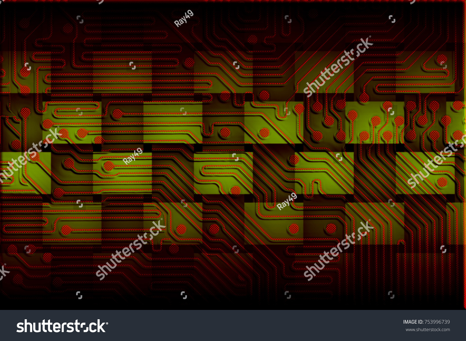 Printed Circuit Board 3 D Illustration Red Stock Pcb The Printedcircuitboard 3d Royalty Free Photography A In On Green With Shadow Effect For Use As