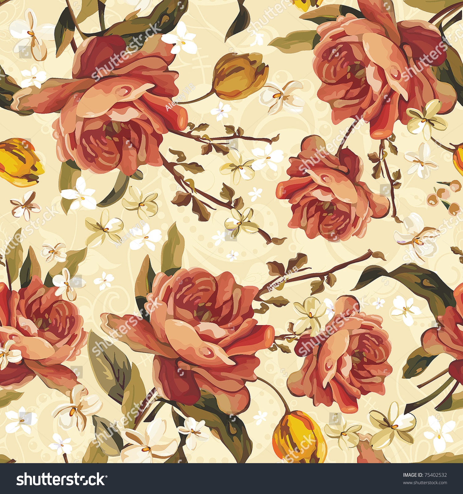 Seamless Pattern With Red And Pink Roses. Stock Vector ... |Vintage Floral Rose Pattern