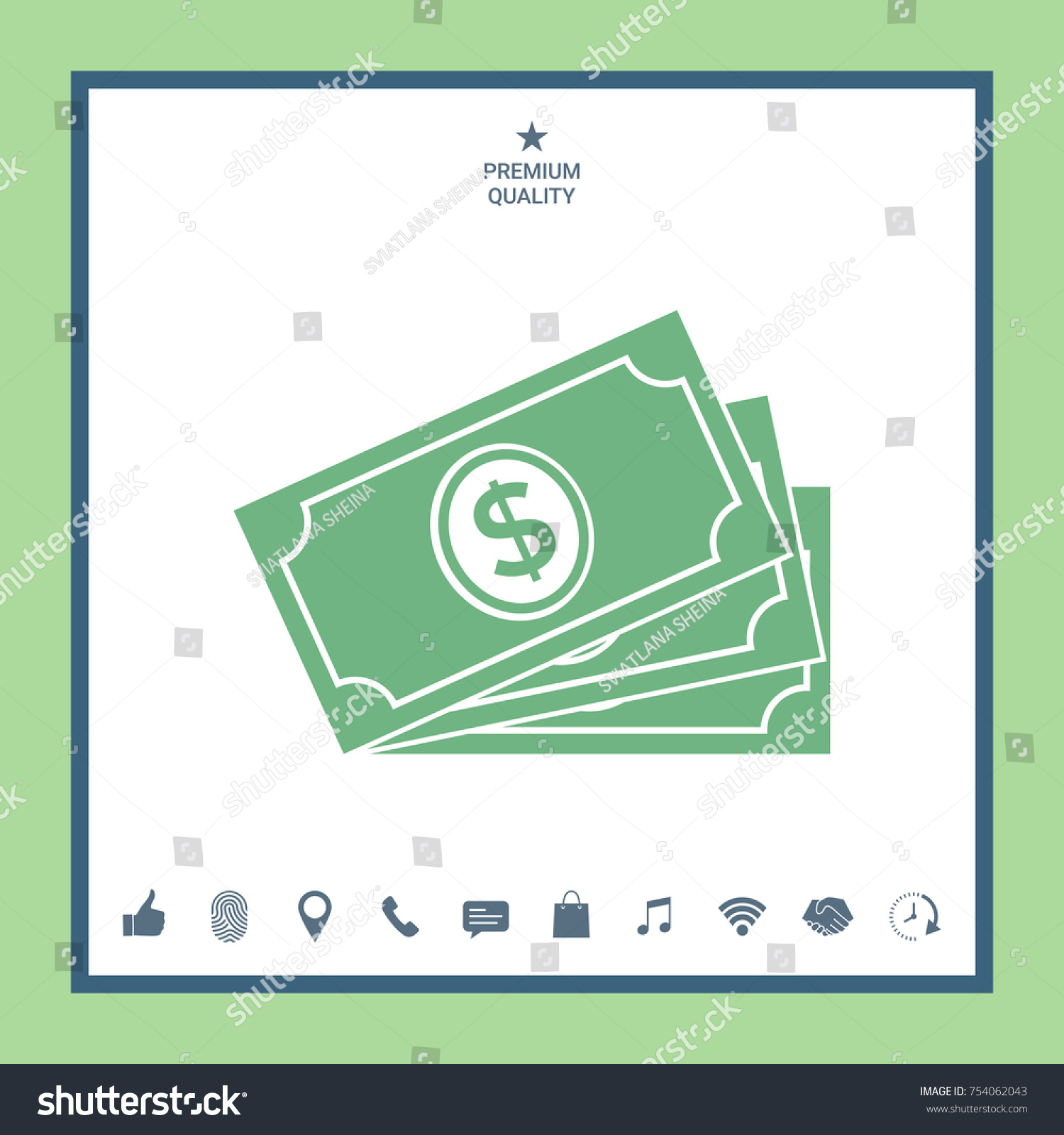 Money Banknotes Stack With Dollar Symbol Icon Ez Canvas