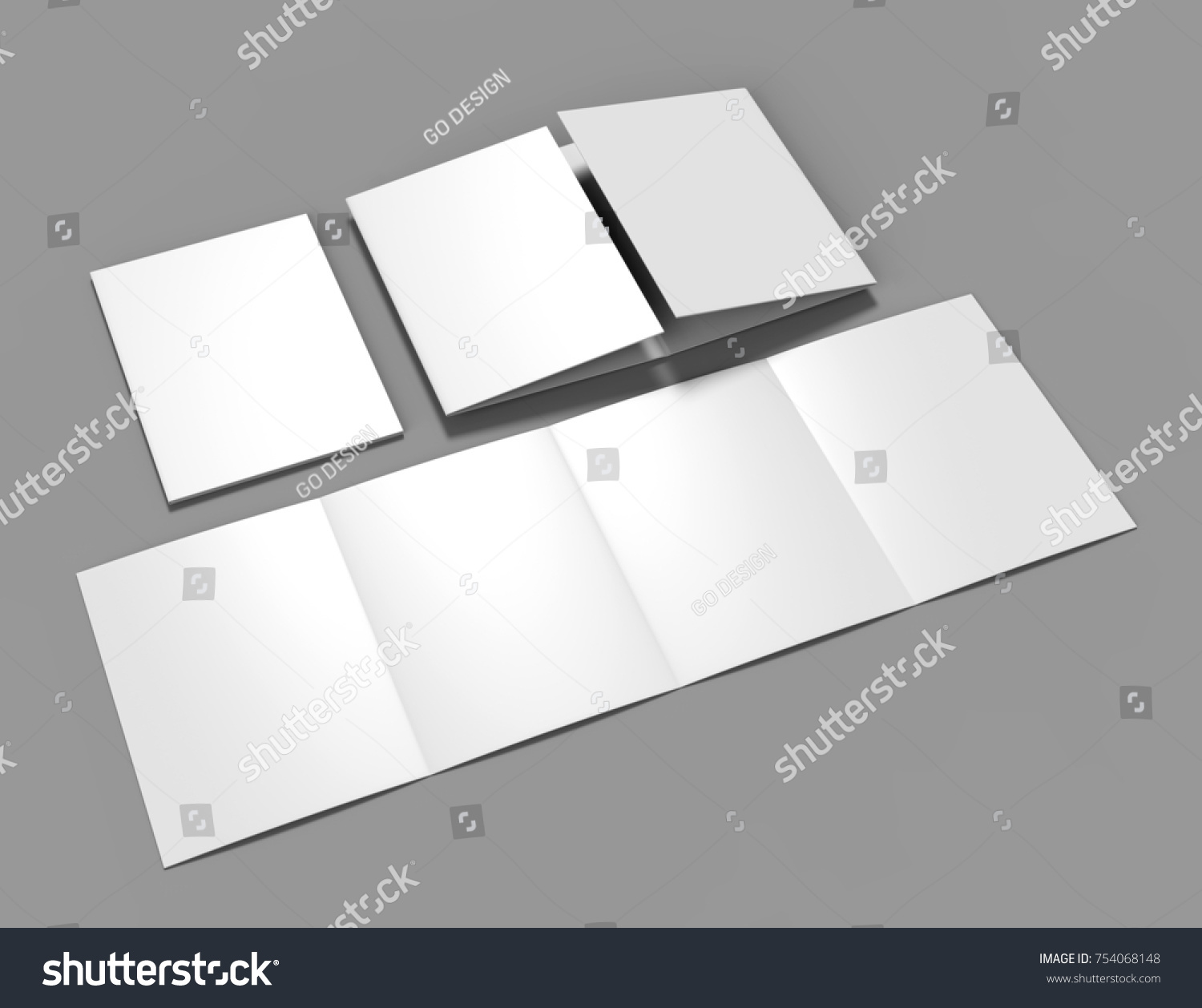 double gate fold brochure blank whiteのイラスト素材 754068148