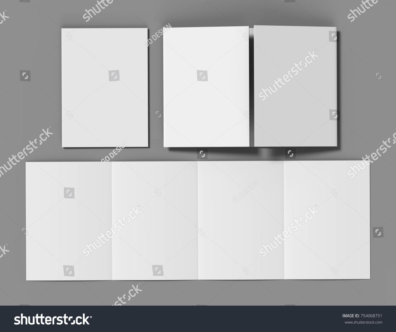 Double Gate Fold Brochure Blank White Stock Illustration 754068751 ...
