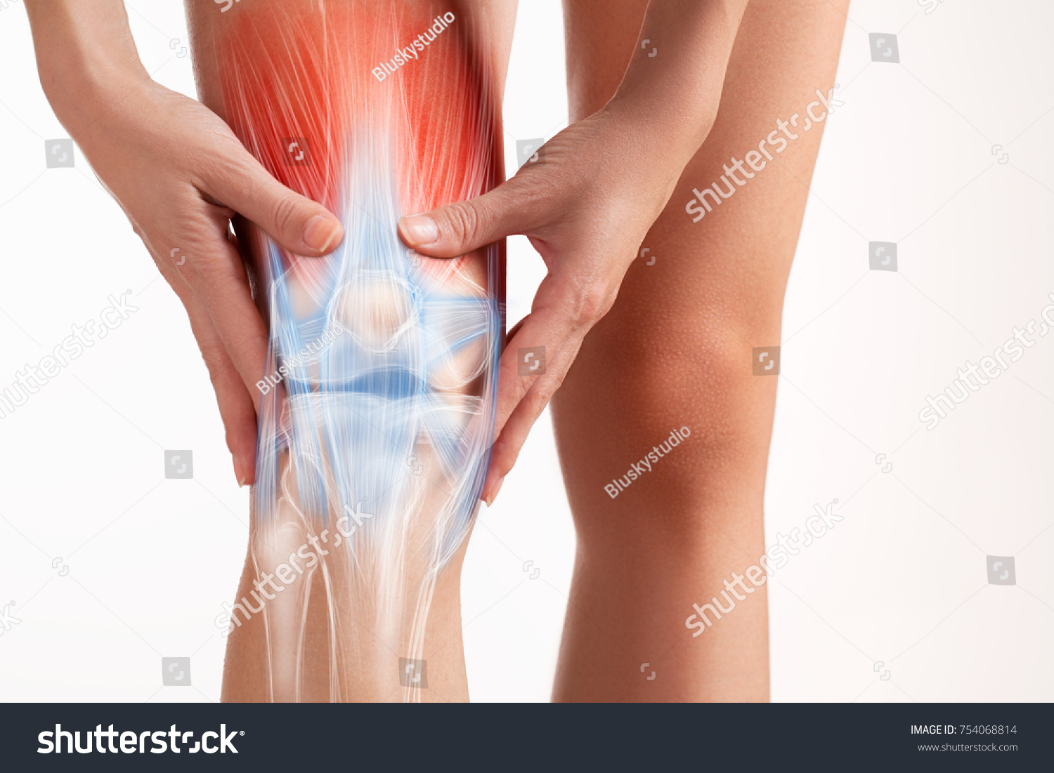 Knees pain, hands touch the painful point. #754068814