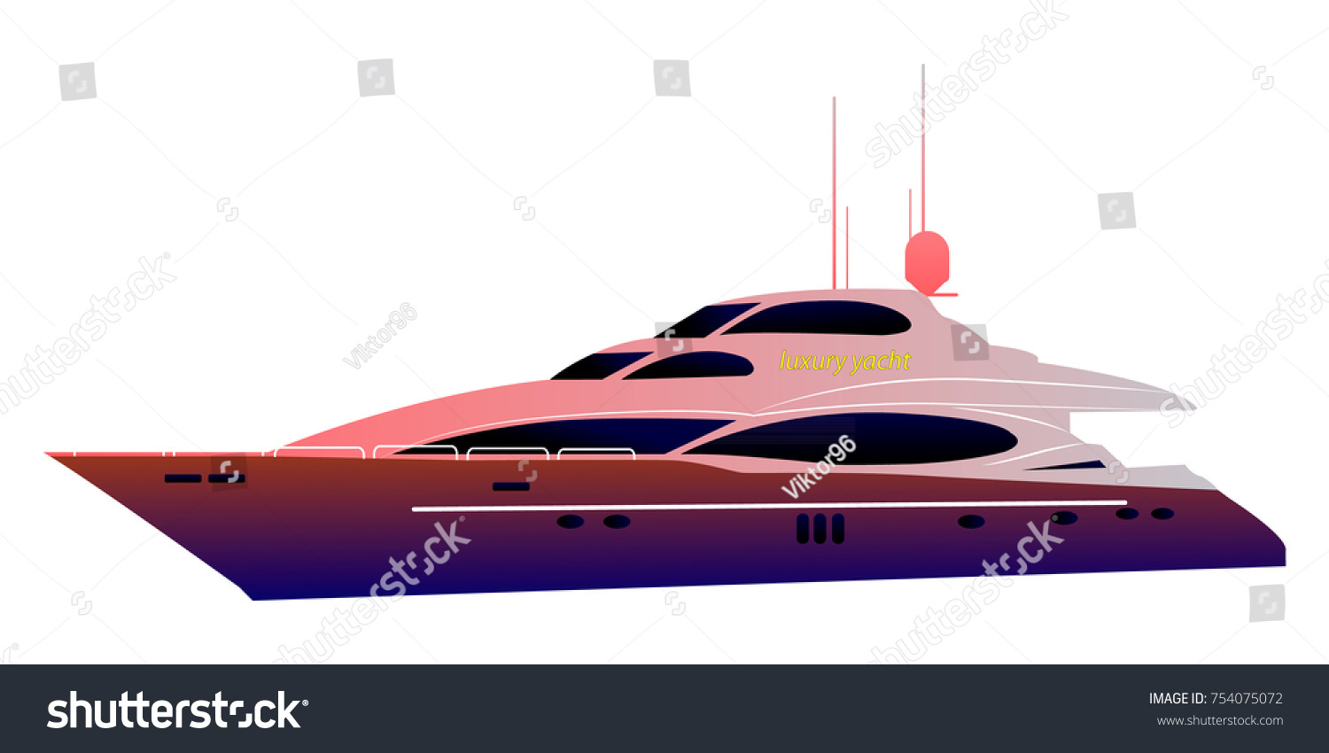Motor Boat Sail Boat Side View Stock Vector Shutterstock - Cruise ship speed
