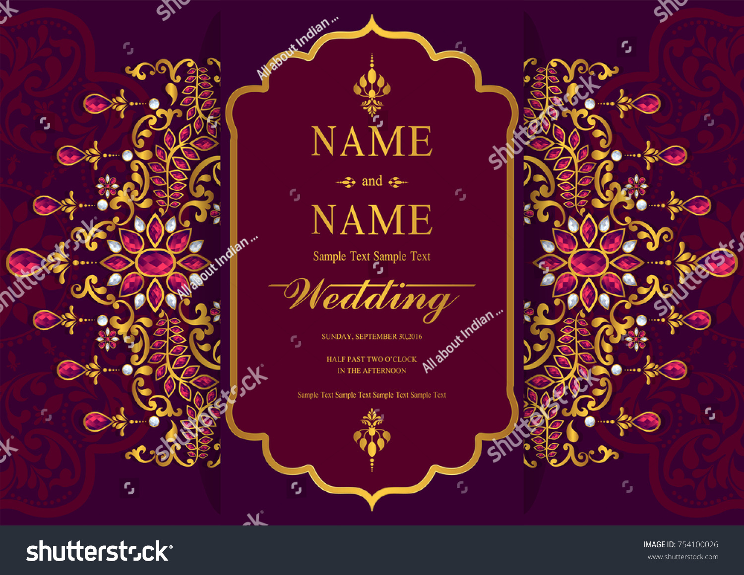 Indian Wedding Invitation Card Templates Patterned Stock Vector ...