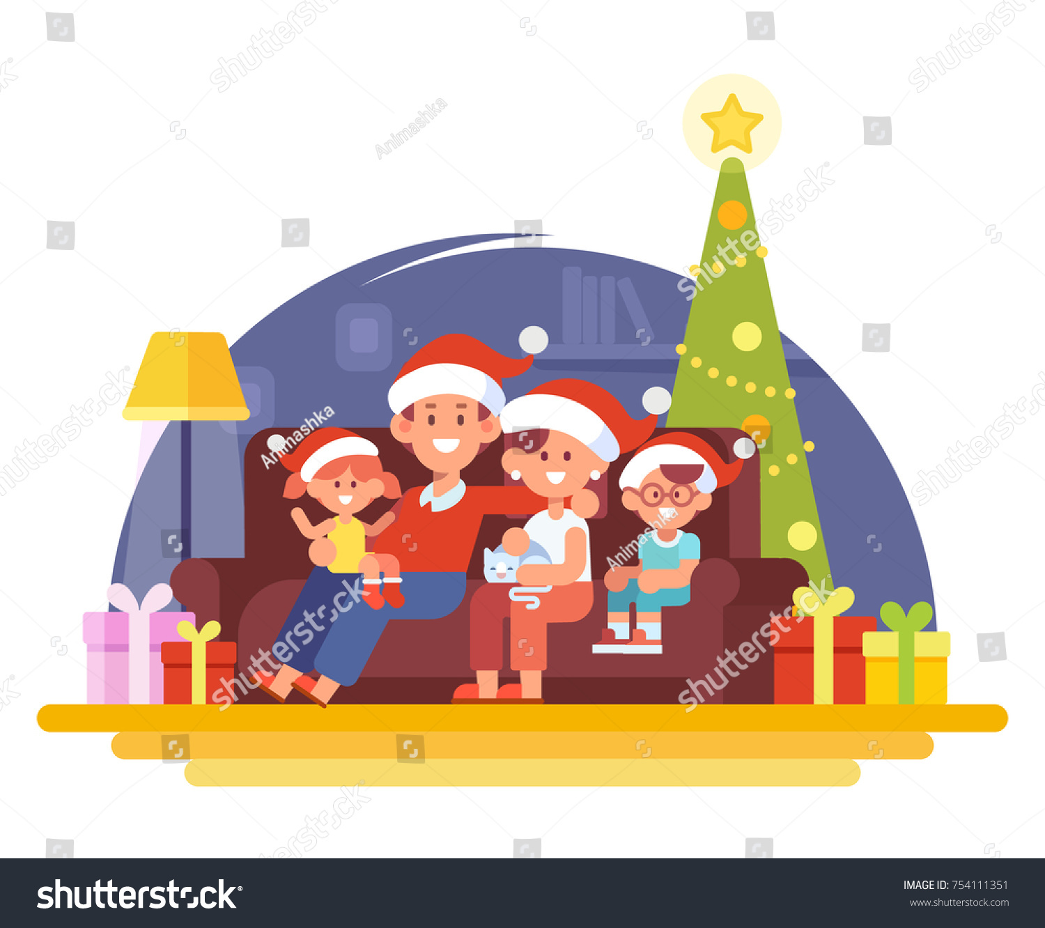 merry christmas and new year happy family together mom dad and children in