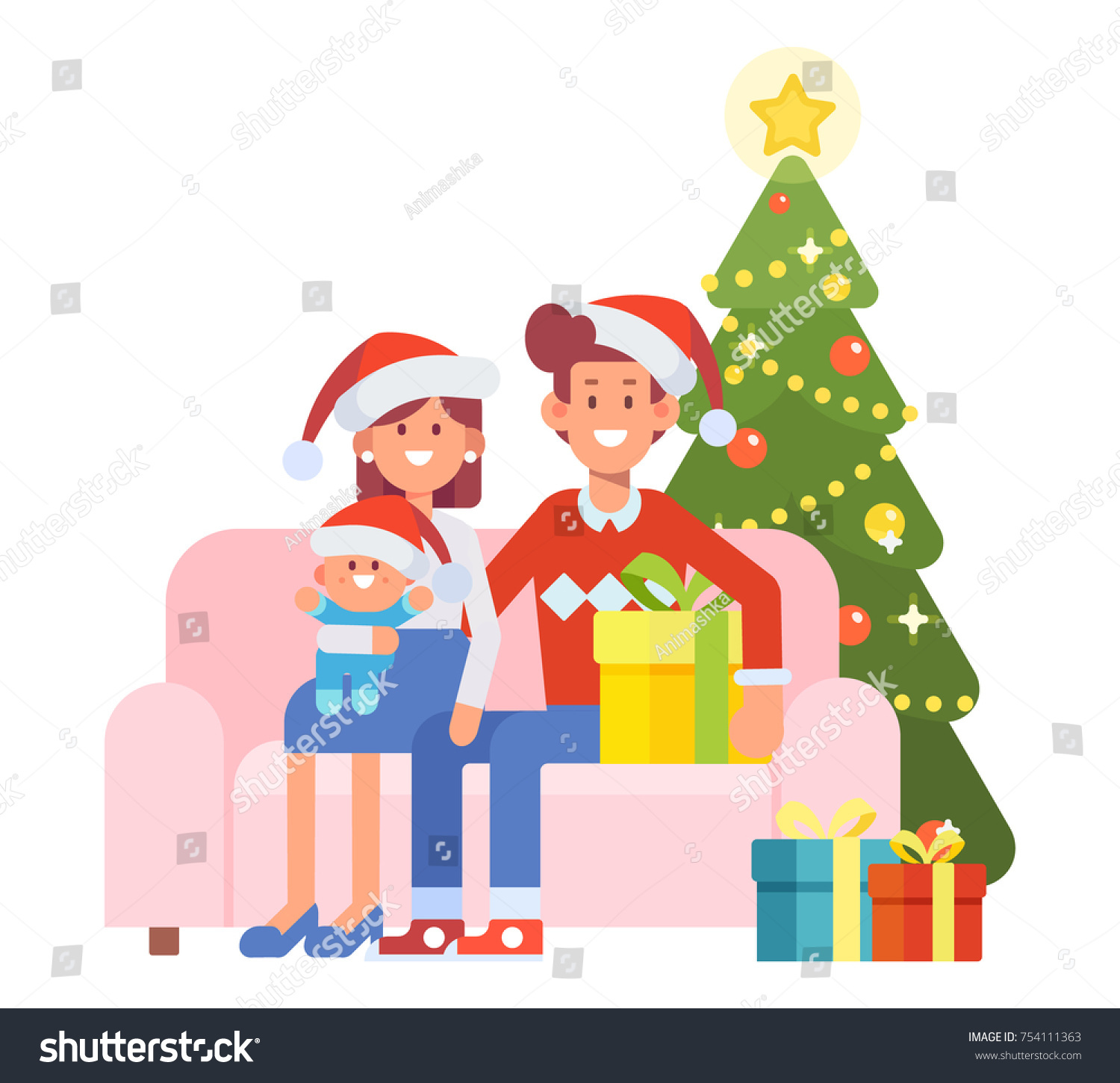 merry christmas and new year happy family together mom dad and kid in - What To Get Mom And Dad For Christmas