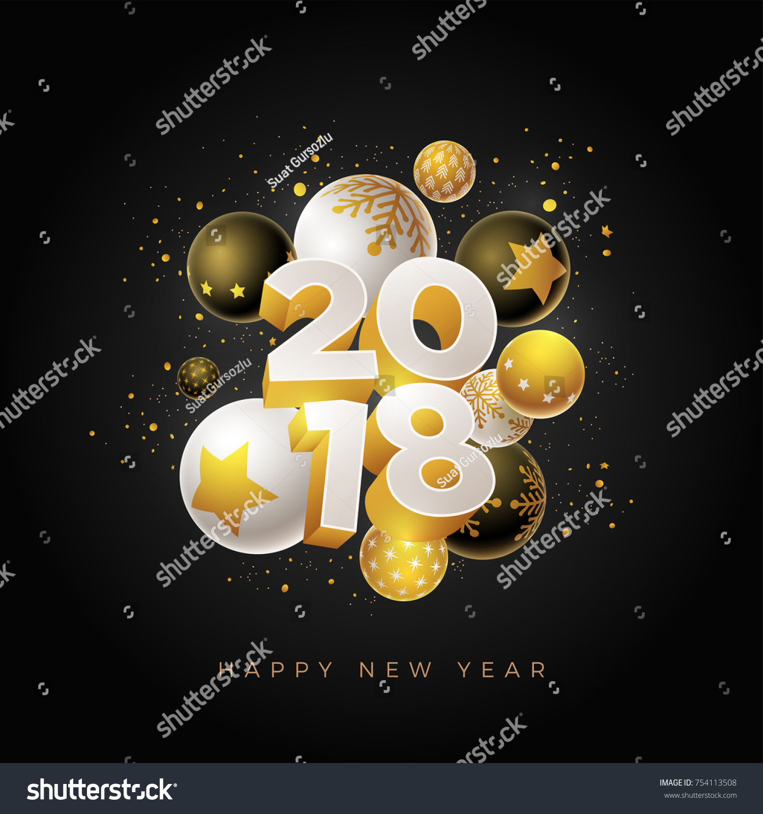 Abstract 2018 New Year Greeting Card Stock Vector 754113508