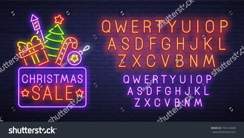 Christmas sale neon sign, bright signboard, light banner. New Year logo,  emblem