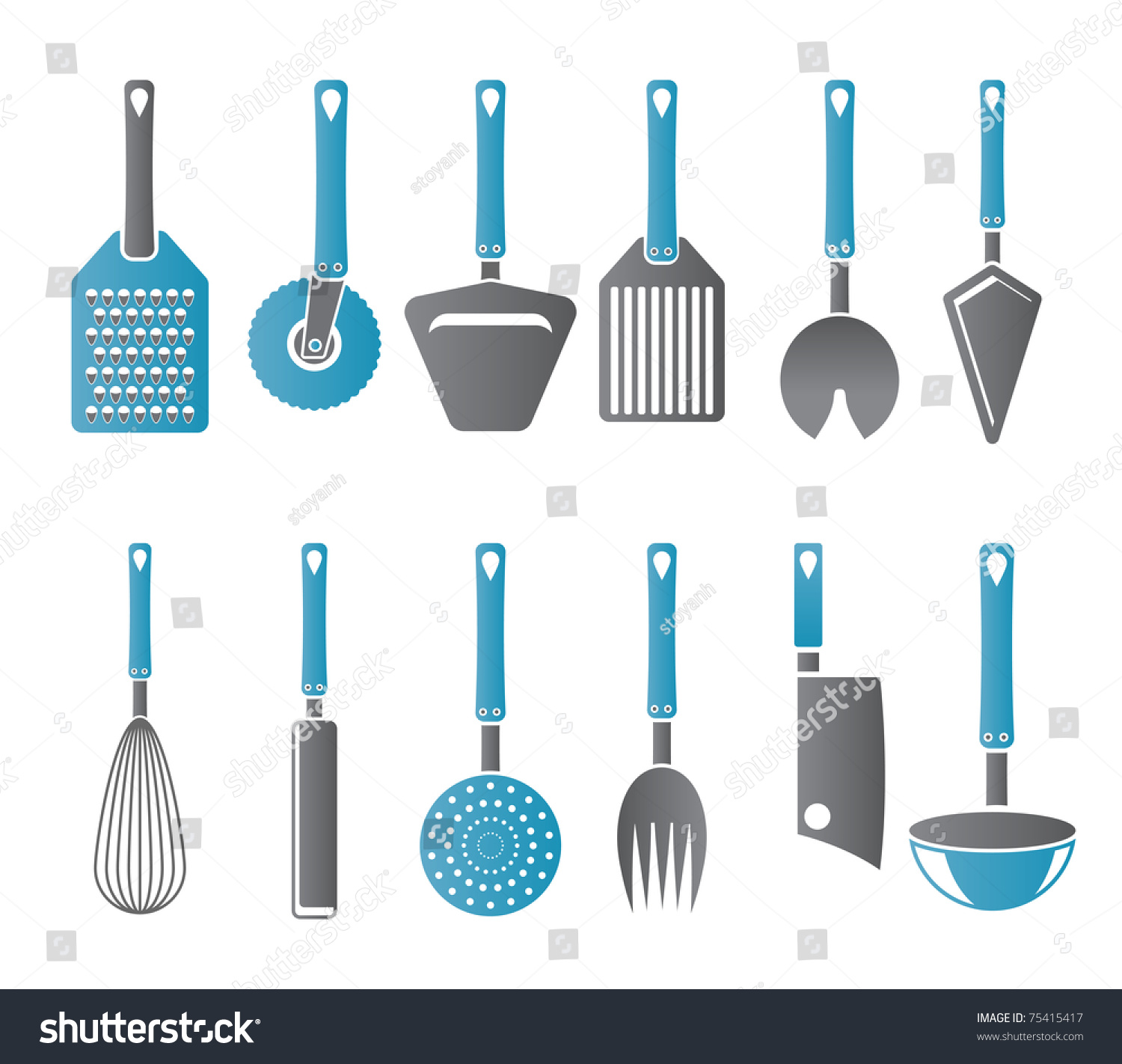 Kitchen Accessory Different Kind Kitchen Accessories Equipment Icons Stock Vector