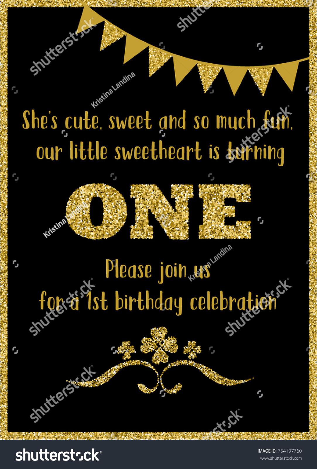 Birthday Card Invitation Turning One Black Stock Vector Royalty