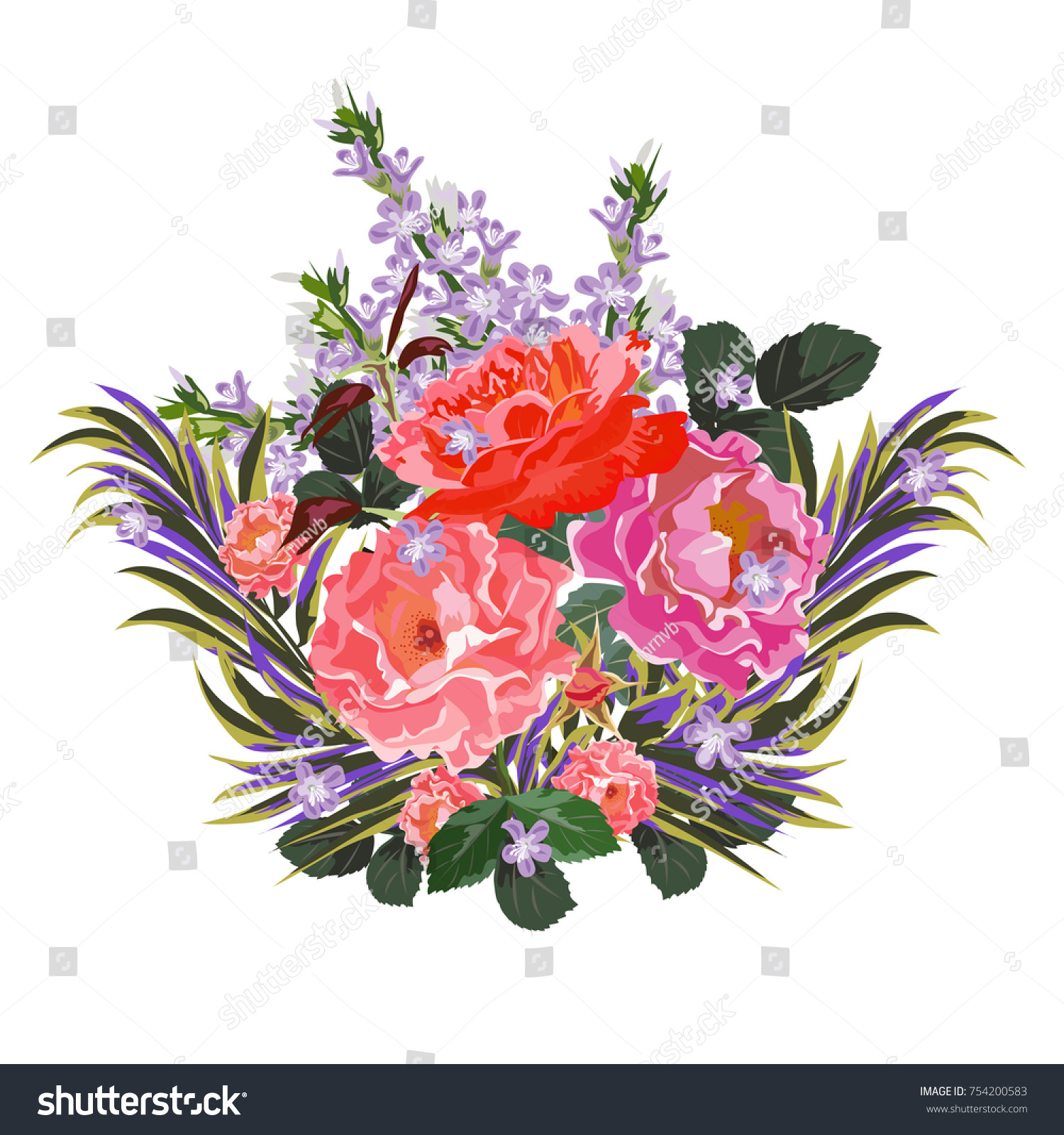 Bouquet of hippeastrum and cute pink flowers. Decor elements for ...