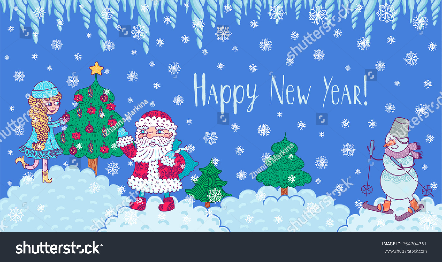 snow maiden santa claus and snowman on the background of a winter landscape vector