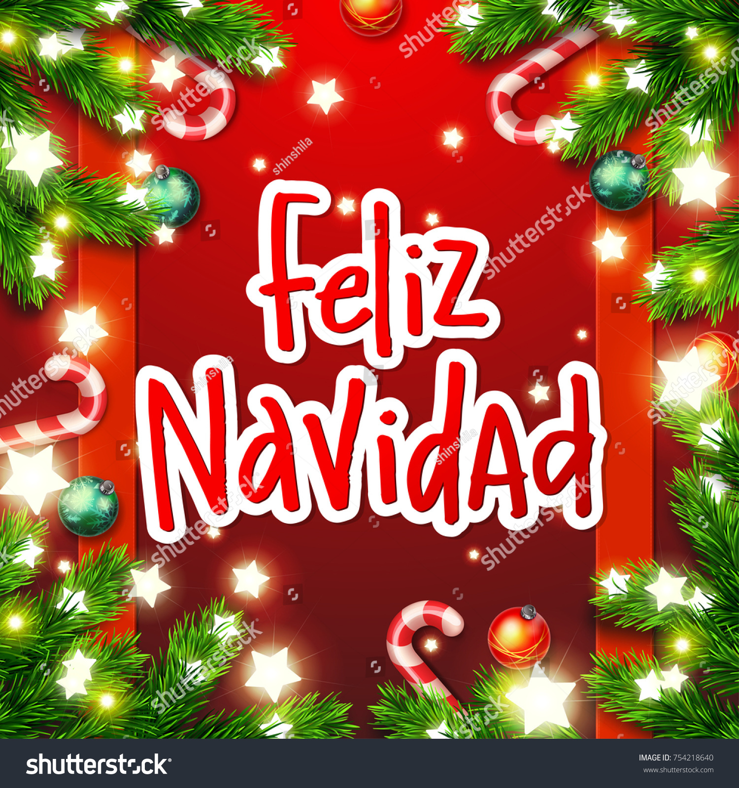 hand drawn calligraphy merry christmas in spanish language feliz navidad concept handwritten