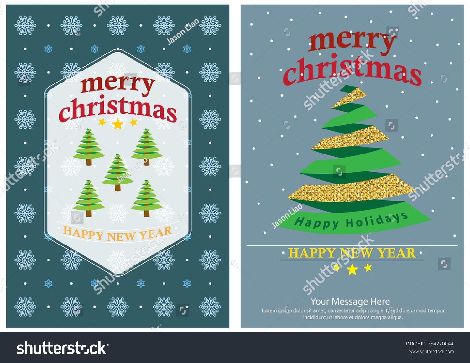 Simple Christmas Greeting Card Design Template Stock Vector Royalty