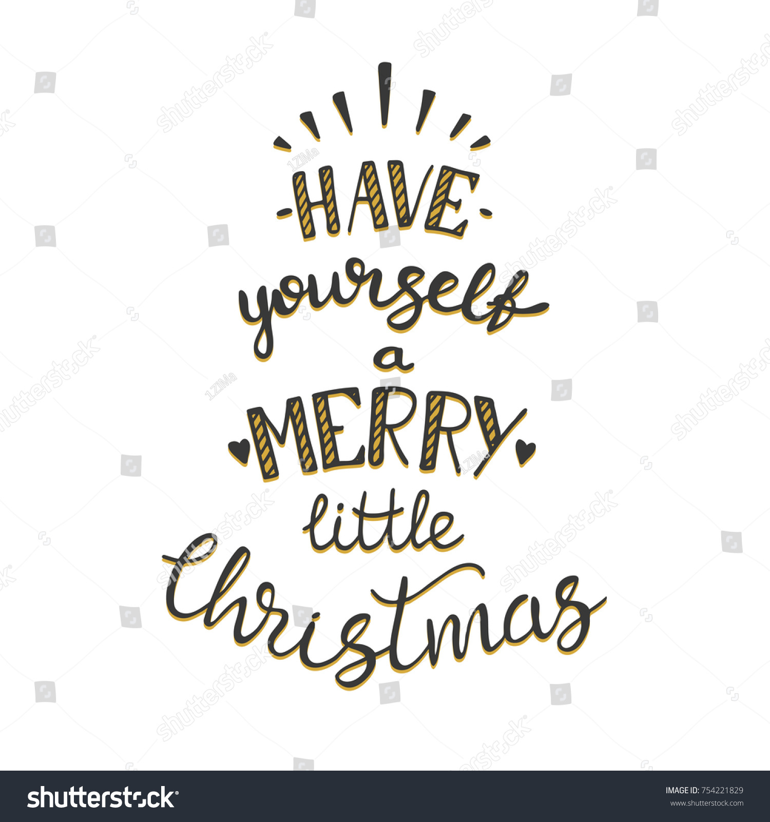 Have Yourself Merry Little Christmas Lettering Stock Vector (Royalty ...