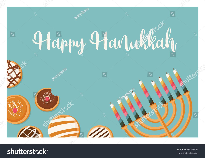Hanukkah Doughnut Menora Jewish Holiday Symbols Stock Vector