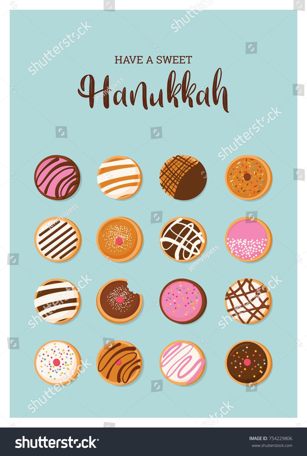 Hanukkah Doughnut Jewish Holiday Symbol Sweet Stock Vector Royalty