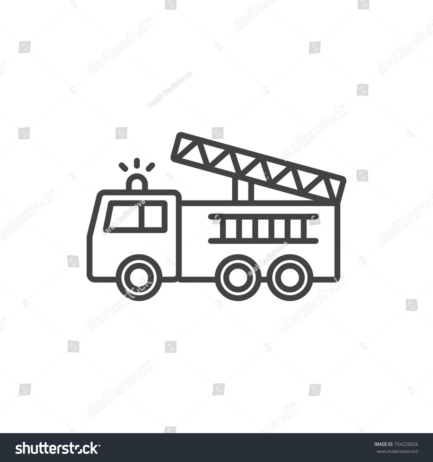 Fire Truck Line Icon Stock Vector Royalty Free 754229926 Engines Diagram Traffic Cone
