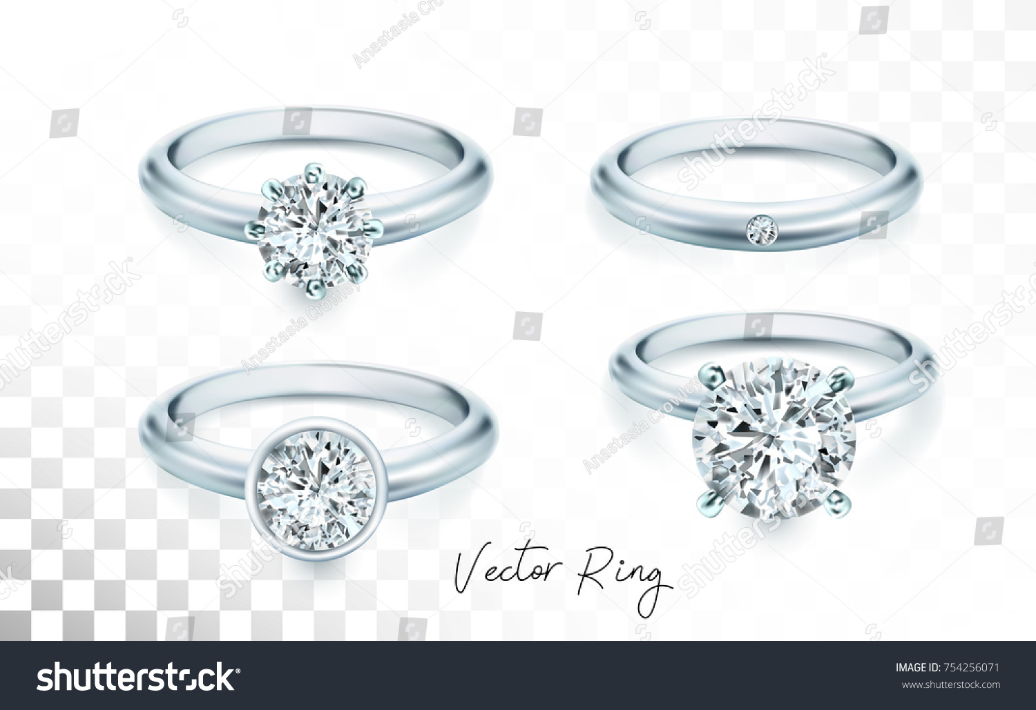 Wedding Rings Set Silver Palladium Metal Stock Vector Royalty Free