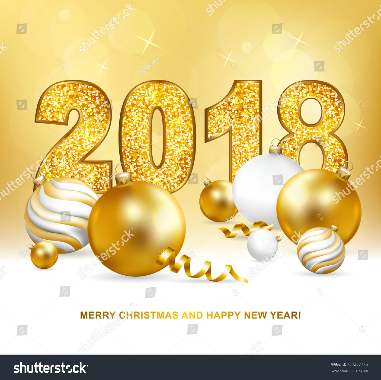 2018 merry christmas and happy new year card with christmas balls and serpentine gold glitter