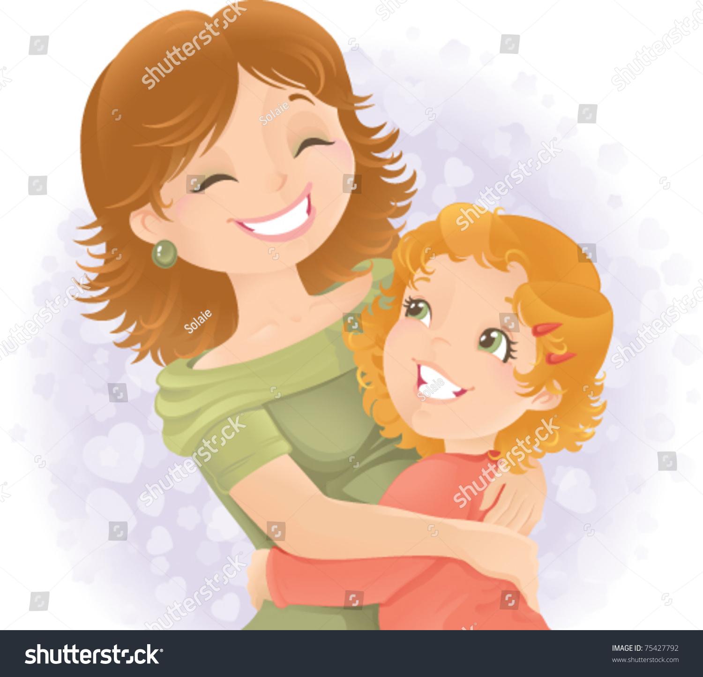 Little Girl Hugging Her Mother Great Stock Vector 75427792 Shutterstock