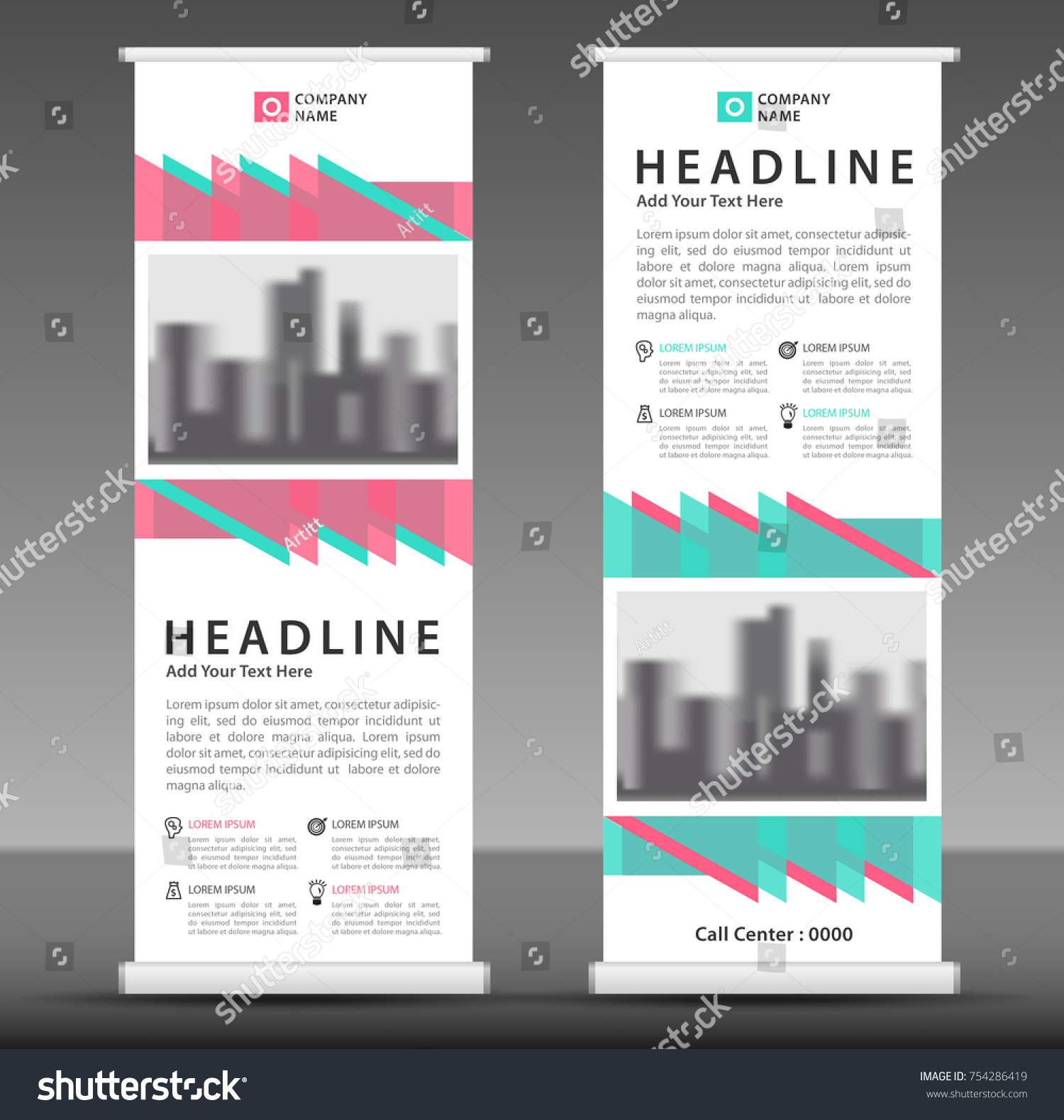Bluepink Roll Banner Template Pull Layout Stock Vector (2018 ...