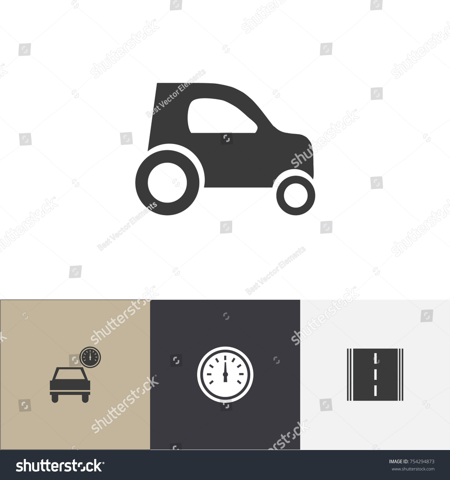 Set 4 editable transport icons includes stock vector 754294873 set of 4 editable transport icons includes symbols such as car odometer highway buycottarizona