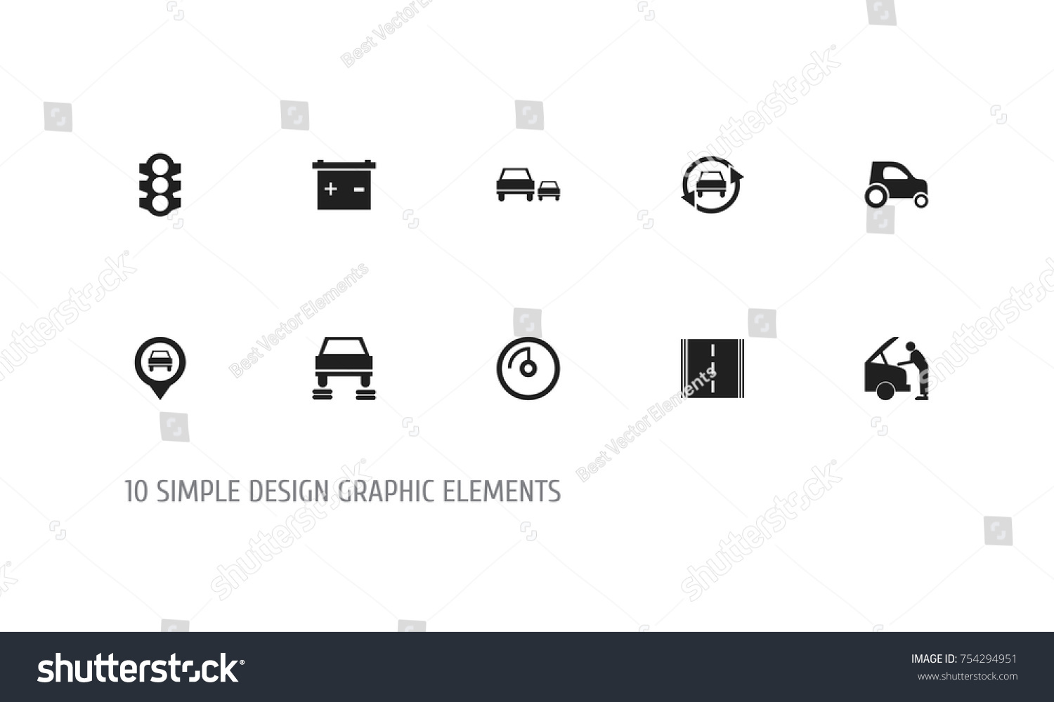 Set 10 editable car icons includes stock vector 754294951 set of 10 editable car icons includes symbols such as tuning auto pinpoint biocorpaavc