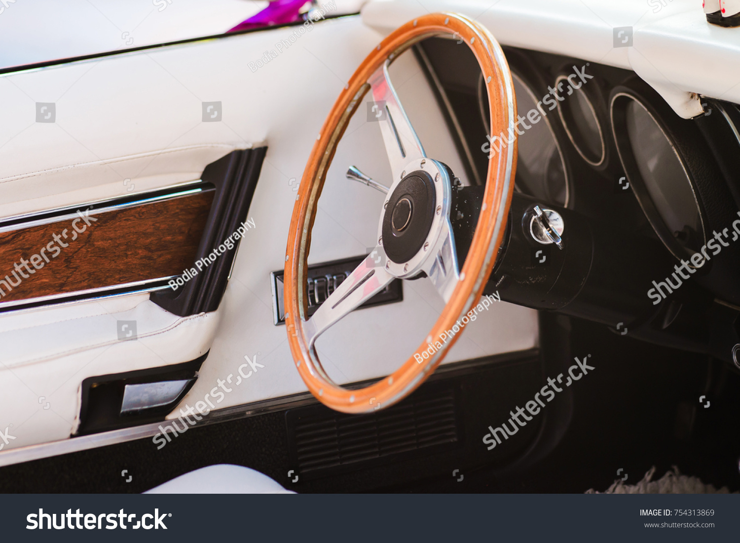 Closeup Steering Wheel Vintage Car White Stock Photo 754313869 ...