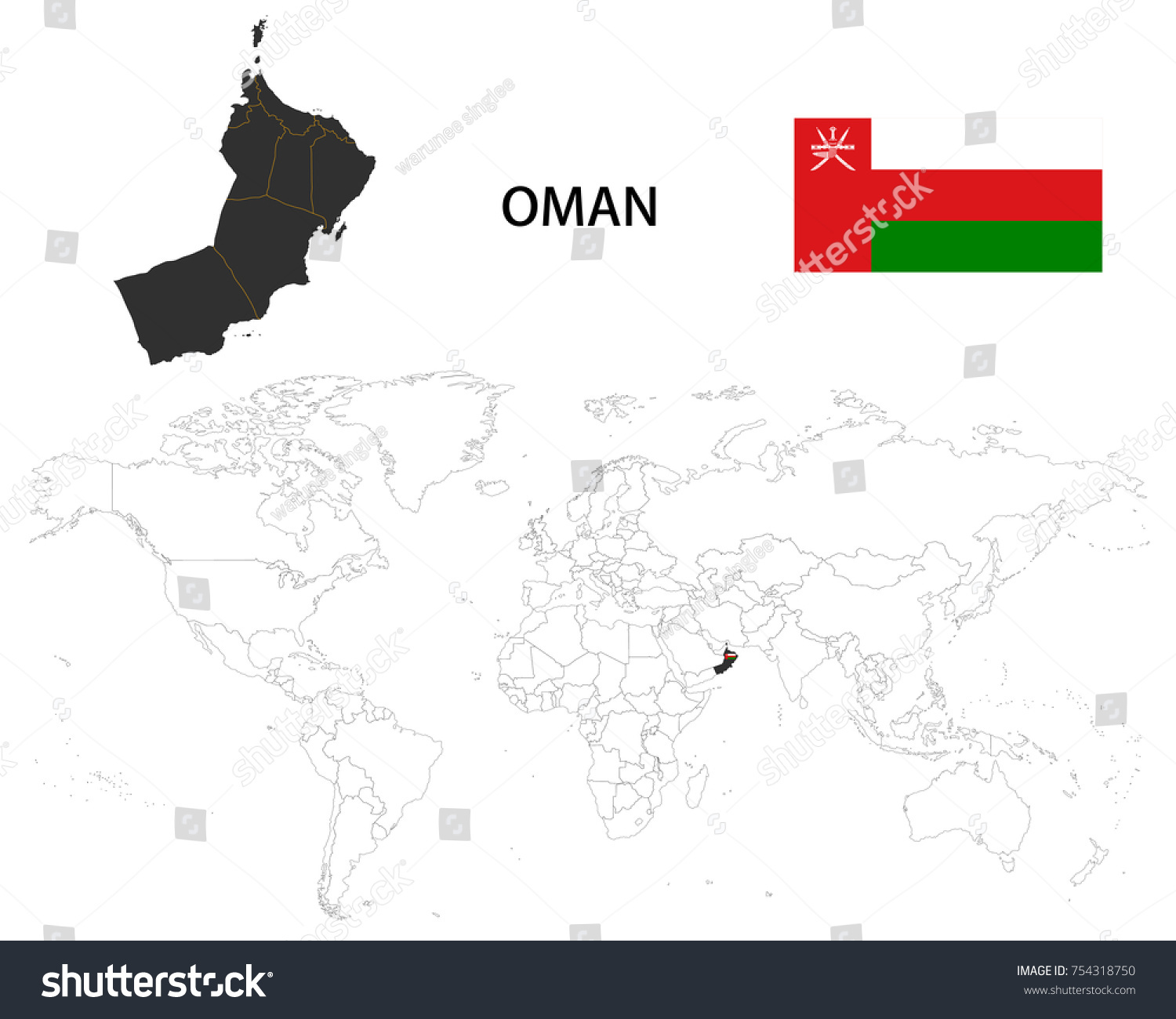 Oman Map On World Map Flag Stock Vector Shutterstock - Oman in the world map