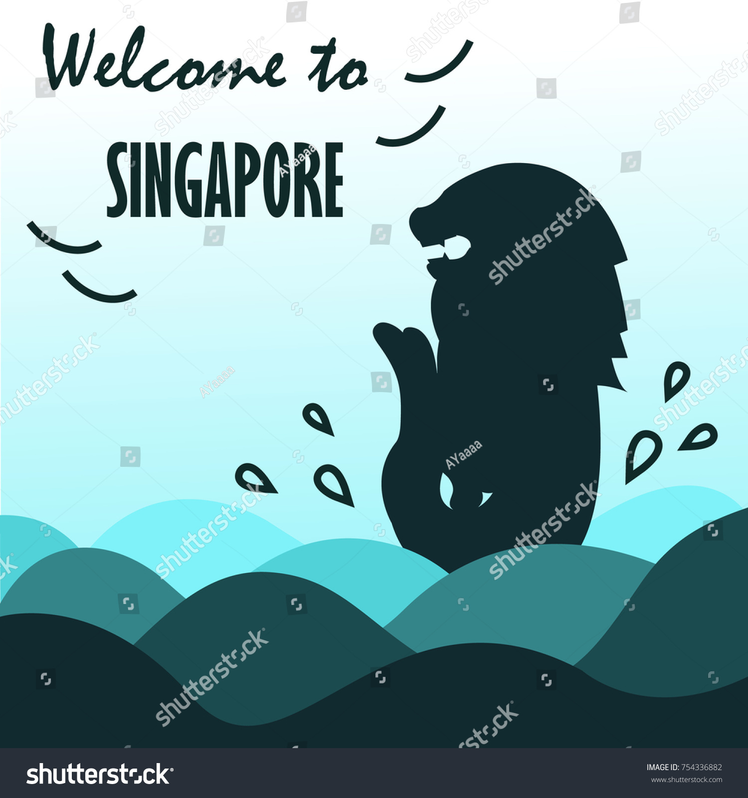 Symbol welcome singapore turquoise silhouette concept stock vector symbol of welcome to singapore with turquoise silhouette concept illustration biocorpaavc Gallery
