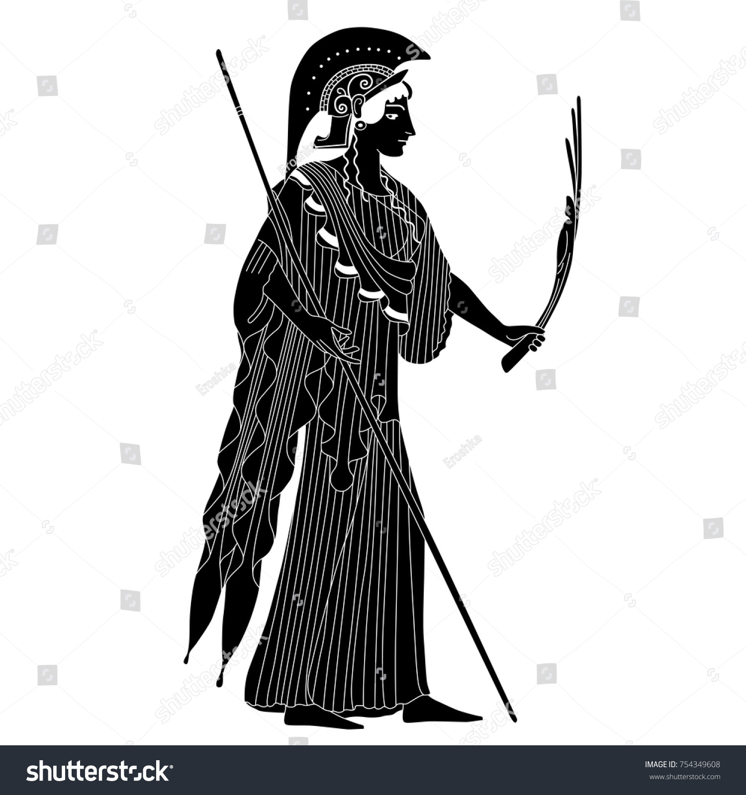 Isolated Vector Silhouette Ancient Greek Goddess Stock Vector