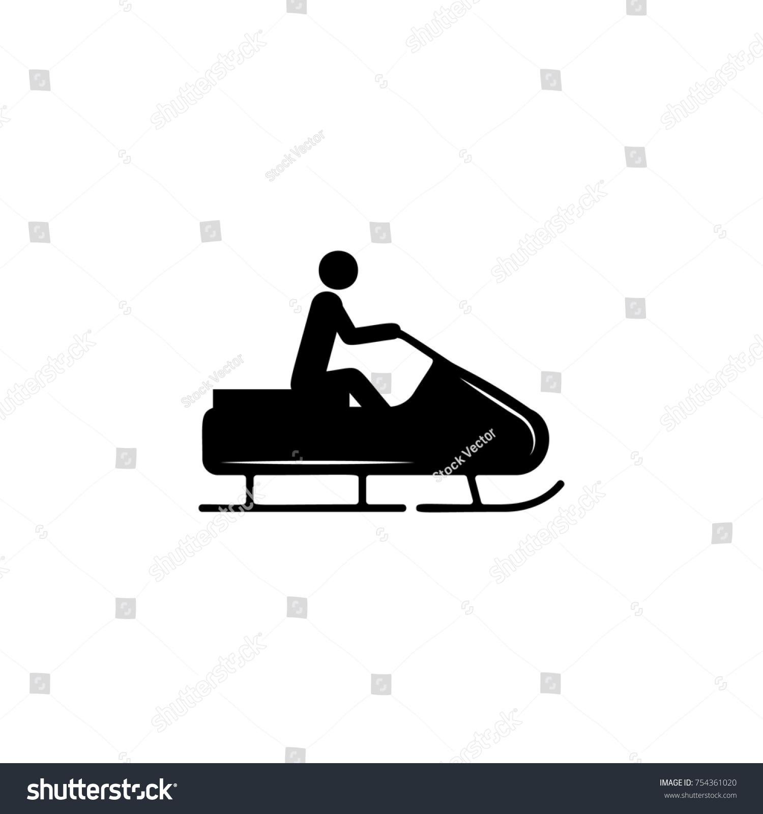 Snow Sledge Ski Bike Icon Simple Stock Illustration 754361020