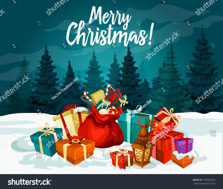 Merry christmas holiday greeting card new stock vector 754362565 merry christmas holiday greeting card with new year gift and santa bag xmas present box kristyandbryce Gallery