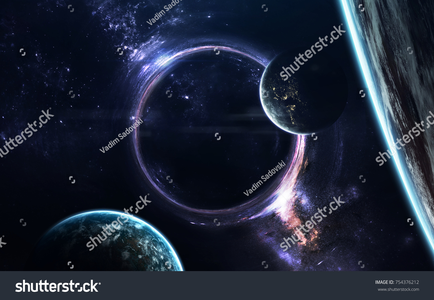 black hole science fiction wallpaper elements stock photo & image