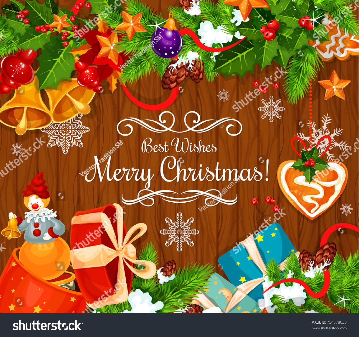 Merry Christmas Best Wishes Greeting Card Stock Vector Royalty Free