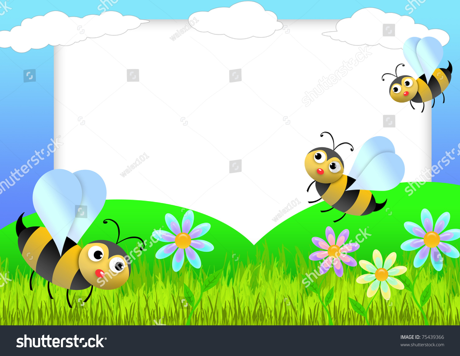 Kid scrapbook with bees and white daisies in a field with sun ...