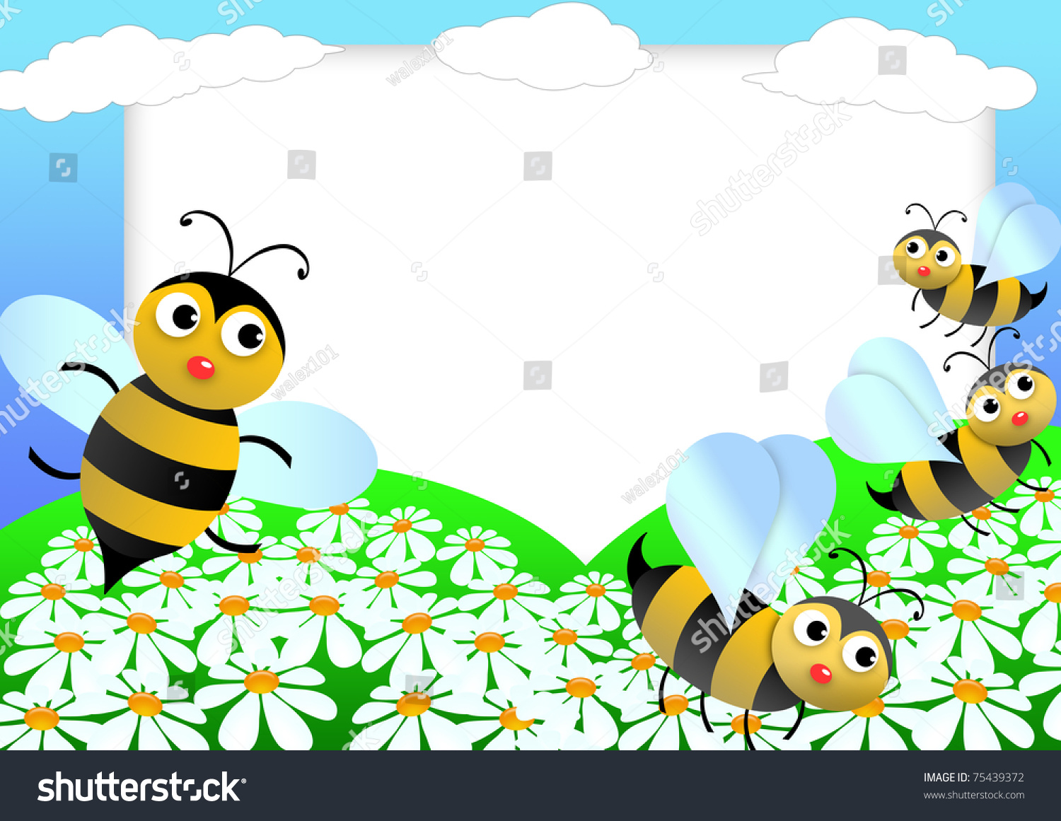 Kid Scrapbook Bees Flowers Photo Frames Stock Illustration 75439372 ...