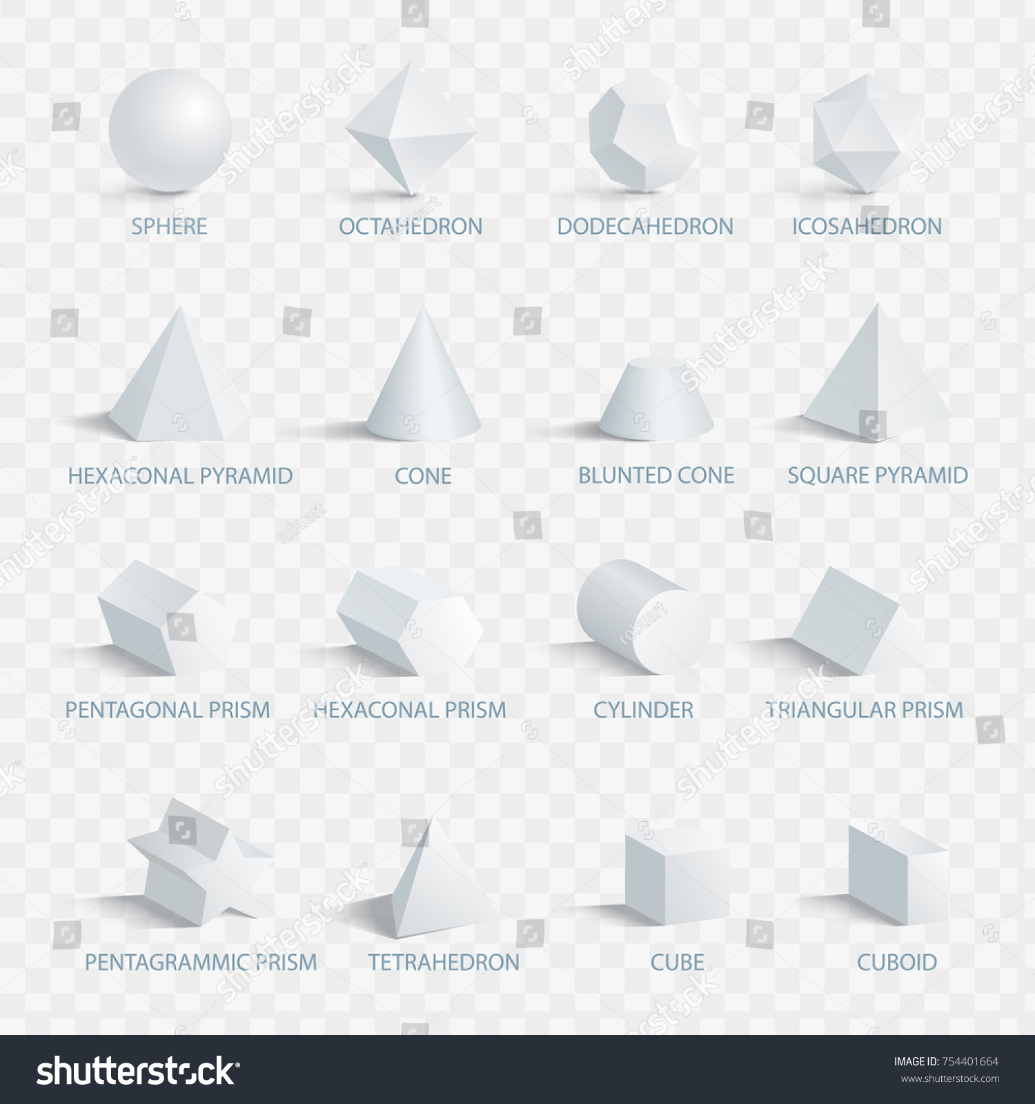 geometric 3 d shapes names vector illustration stock vector (royalty