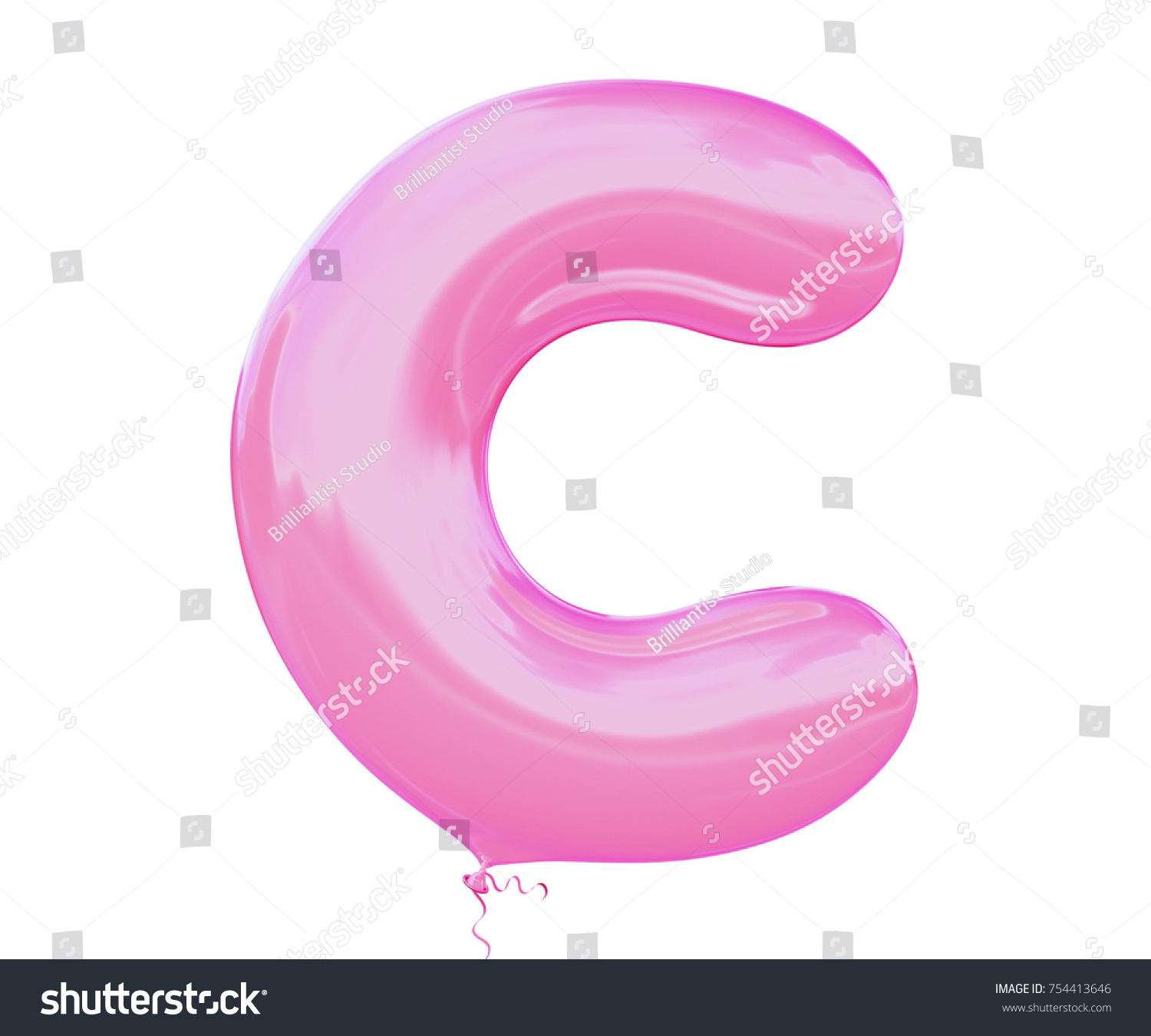 Balloon pink bubble gum color Font letter J made of realistic air ...