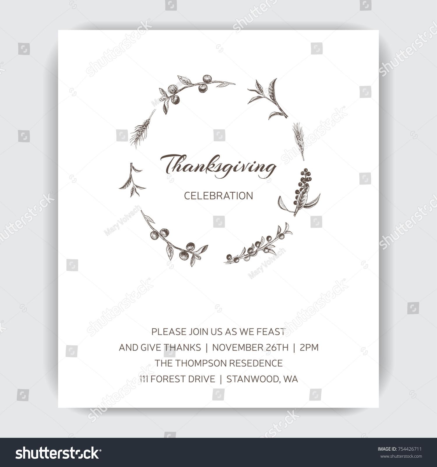 Invitation Card Thanksgiving Dinner Circle Friends Stock Vector